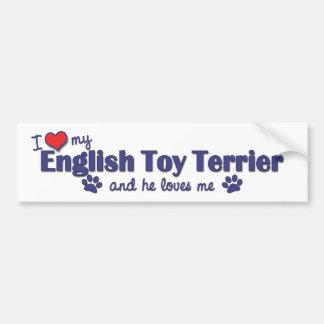 Amo mi juguete Terrier inglés (el perro masculino) Pegatina Para Auto