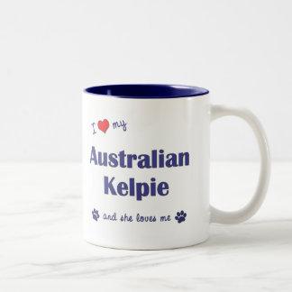 Amo mi Kelpie australiano (el perro femenino) Taza Dos Tonos