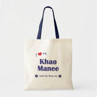 Amo mi Khao Manee (el gato femenino) Bolsa De Mano