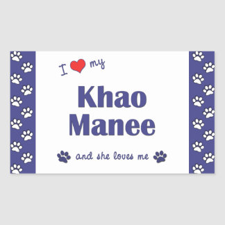 Amo mi Khao Manee (el gato femenino) Rectangular Pegatinas