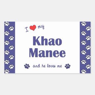 Amo mi Khao Manee (el gato masculino) Rectangular Pegatinas