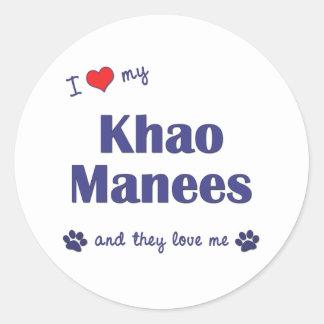 Amo mi Khao Manees (los gatos múltiples) Etiqueta Redonda