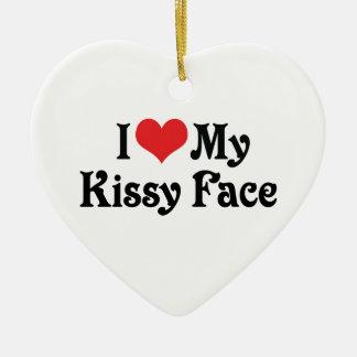 Amo mi Kissy hago frente Adorno Navideño De Cerámica En Forma De Corazón