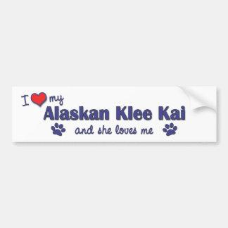 Amo mi Klee de Alaska Kai (el perro femenino) Etiqueta De Parachoque