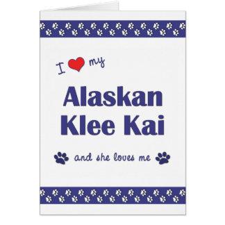Amo mi Klee de Alaska Kai (el perro femenino) Tarjeta Pequeña