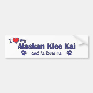 Amo mi Klee de Alaska Kai (el perro masculino) Etiqueta De Parachoque