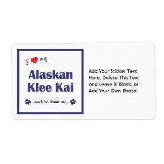 Amo mi Klee de Alaska Kai (el perro masculino) Etiqueta De Envío