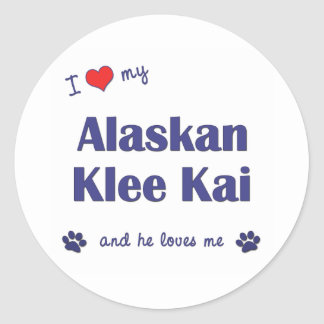 Amo mi Klee de Alaska Kai (el perro masculino) Pegatina Redonda
