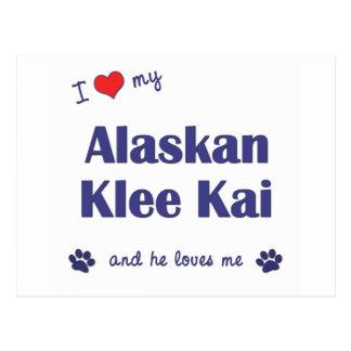 Amo mi Klee de Alaska Kai (el perro masculino) Tarjetas Postales