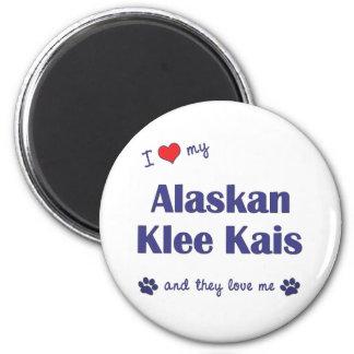 Amo mi Klee de Alaska Kais (los perros múltiples) Imán Redondo 5 Cm