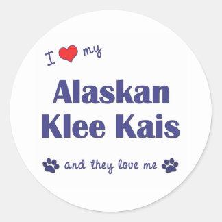 Amo mi Klee de Alaska Kais (los perros múltiples) Pegatina Redonda