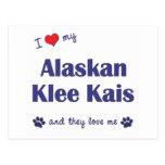 Amo mi Klee de Alaska Kais (los perros múltiples) Postal