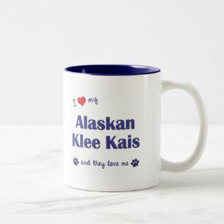 Amo mi Klee de Alaska Kais (los perros múltiples) Taza De Dos Tonos