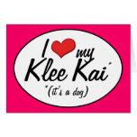 Amo mi Klee Kai (es un perro) Felicitaciones