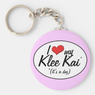 Amo mi Klee Kai (es un perro) Llavero Redondo Tipo Pin