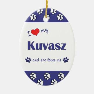 Amo mi Kuvasz (el perro femenino) Adorno Ovalado De Cerámica