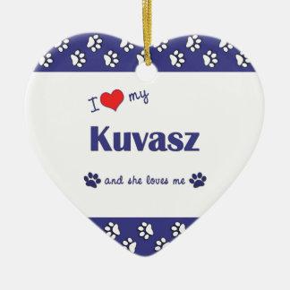 Amo mi Kuvasz (el perro femenino) Adorno De Cerámica En Forma De Corazón