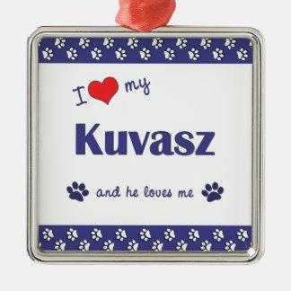 Amo mi Kuvasz (el perro masculino) Adorno Cuadrado Plateado