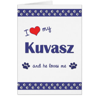Amo mi Kuvasz (el perro masculino) Tarjeta Pequeña