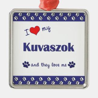 Amo mi Kuvaszok (los perros múltiples) Adorno Cuadrado Plateado
