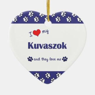 Amo mi Kuvaszok (los perros múltiples) Adorno De Cerámica En Forma De Corazón