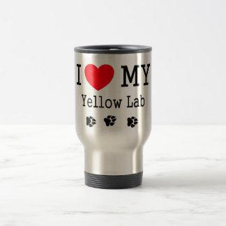 Amo mi laboratorio amarillo tazas de café
