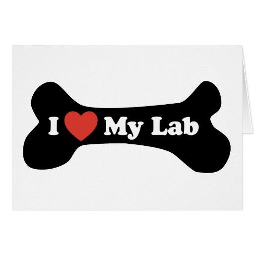 Amo mi laboratorio - hueso de perro felicitaciones