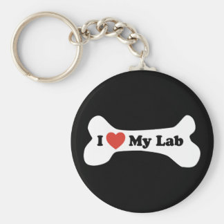 Amo mi laboratorio - hueso de perro llavero redondo tipo pin
