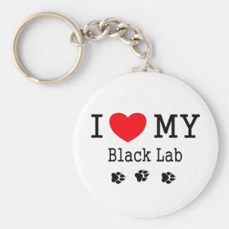 Amo mi laboratorio negro llavero redondo tipo pin