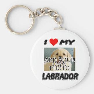 AMO MI LABRADOR - AÑADA SU PROPIA FOTO - CAMISETA LLAVERO REDONDO TIPO PIN