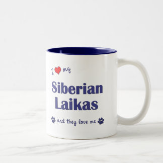 Amo mi Laikas siberiano (los perros múltiples) Taza De Dos Tonos