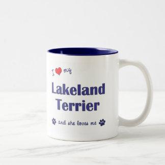 Amo mi Lakeland Terrier (el perro femenino) Taza De Dos Tonos