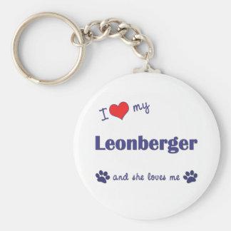 Amo mi Leonberger (el perro femenino) Llaveros Personalizados