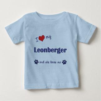 Amo mi Leonberger (el perro femenino) Playera De Bebé