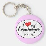 Amo mi Leonberger (es un perro) Llaveros Personalizados