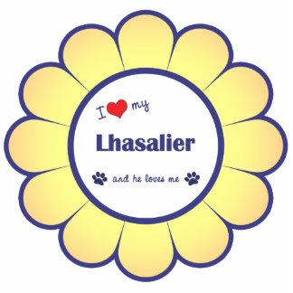 Amo mi Lhasalier (el perro masculino) Adorno Fotoescultura