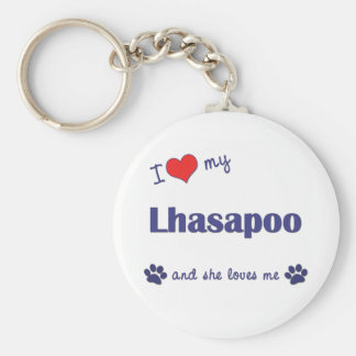 Amo mi Lhasapoo (el perro femenino) Llavero Redondo Tipo Pin