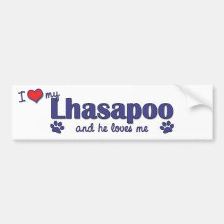 Amo mi Lhasapoo (el perro masculino) Pegatina Para Auto