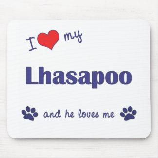 Amo mi Lhasapoo (el perro masculino) Alfombrilla De Ratón