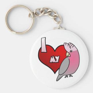 Amo mi llavero color de rosa del Cockatoo de