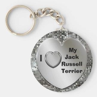 Amo mi llavero del corazón de Jack Russell Terrier