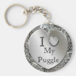 Amo mi llavero del corazón de Puggle