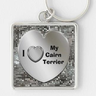 Amo mi llavero del corazón de Terrier de mojón