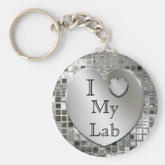 Amo mi llavero del corazón del laboratorio