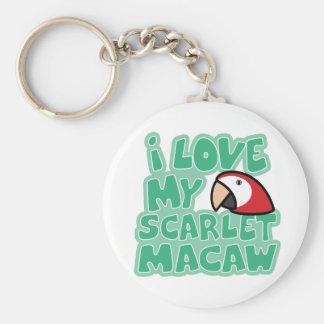 Amo mi llavero del Macaw del escarlata