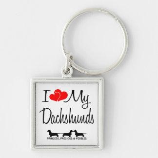 Amo mi llavero del personalizado de tres Dachshund