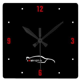 Amo mi logotipo de la pincelada GT-r Relojes De Pared