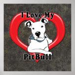 Amo mi logotipo de PitBull Poster