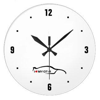 Amo mi logotipo negro GTR de la pincelada Relojes De Pared