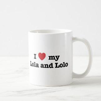 Amo mi Lola y Lolo Taza Básica Blanca